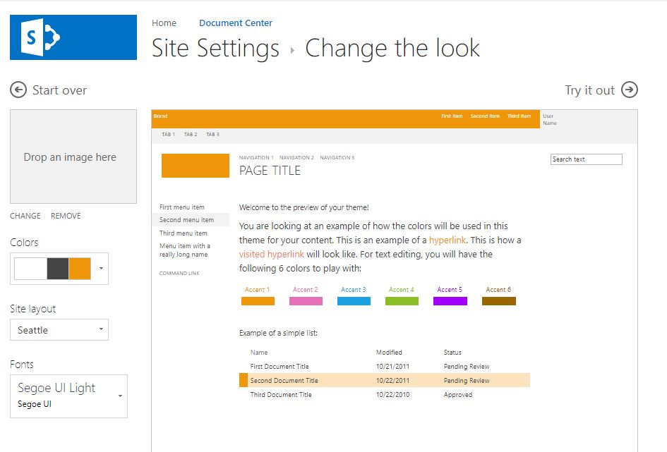 SharePoint Site > Root Site > Themes
